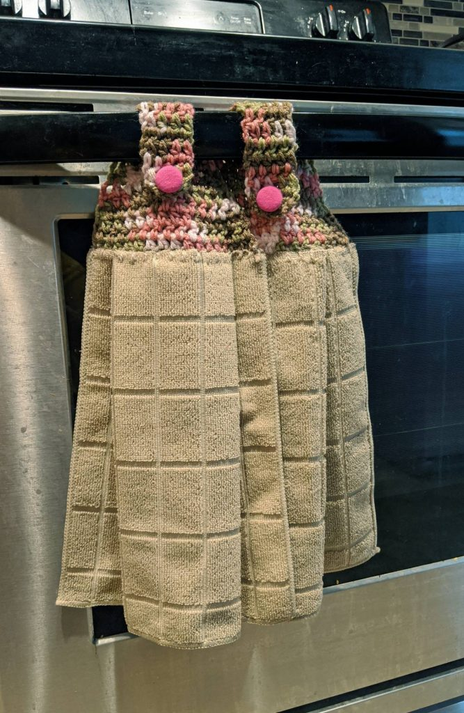 $9, Hanging Towel Pair With Hand Crocheted Top. Artist: Shelly Kontak