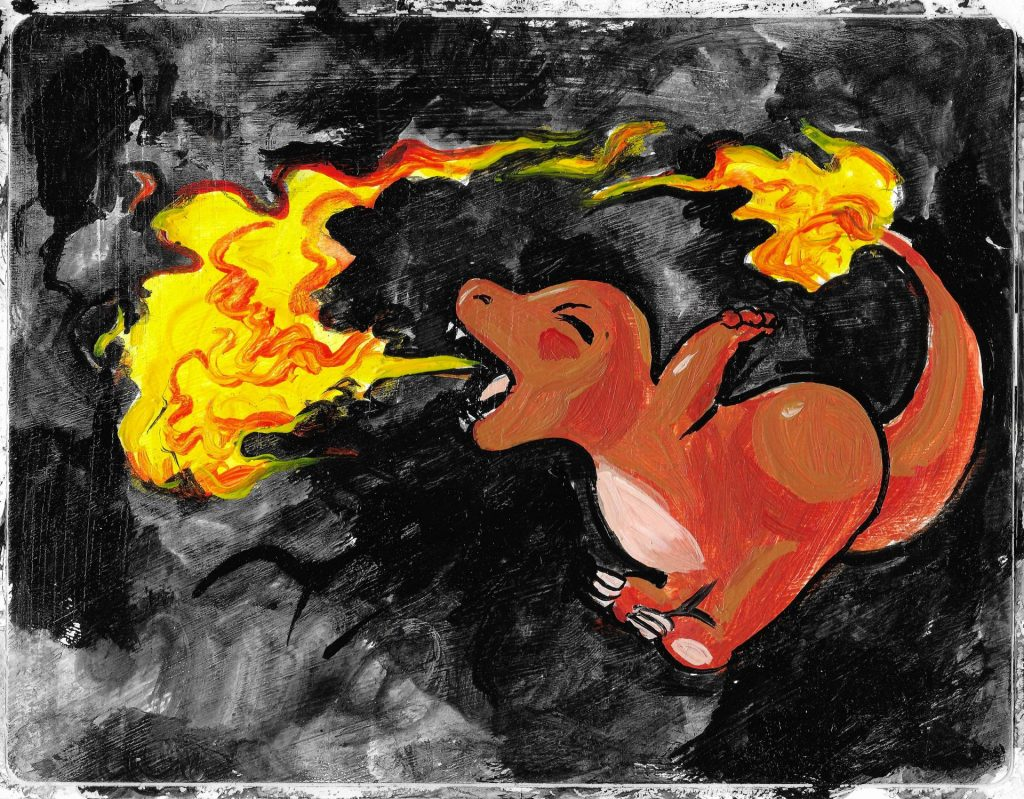 """$6, 4""""x5.5"""" Charmander Painting - This original painting is also a sticker! Put it in a frame as an awesome piece of mini art or stick it on your laptop, guitar case, suitcase, fridge, or anywhere else that strikes your fancy! Artist: Emiliano Vega"""