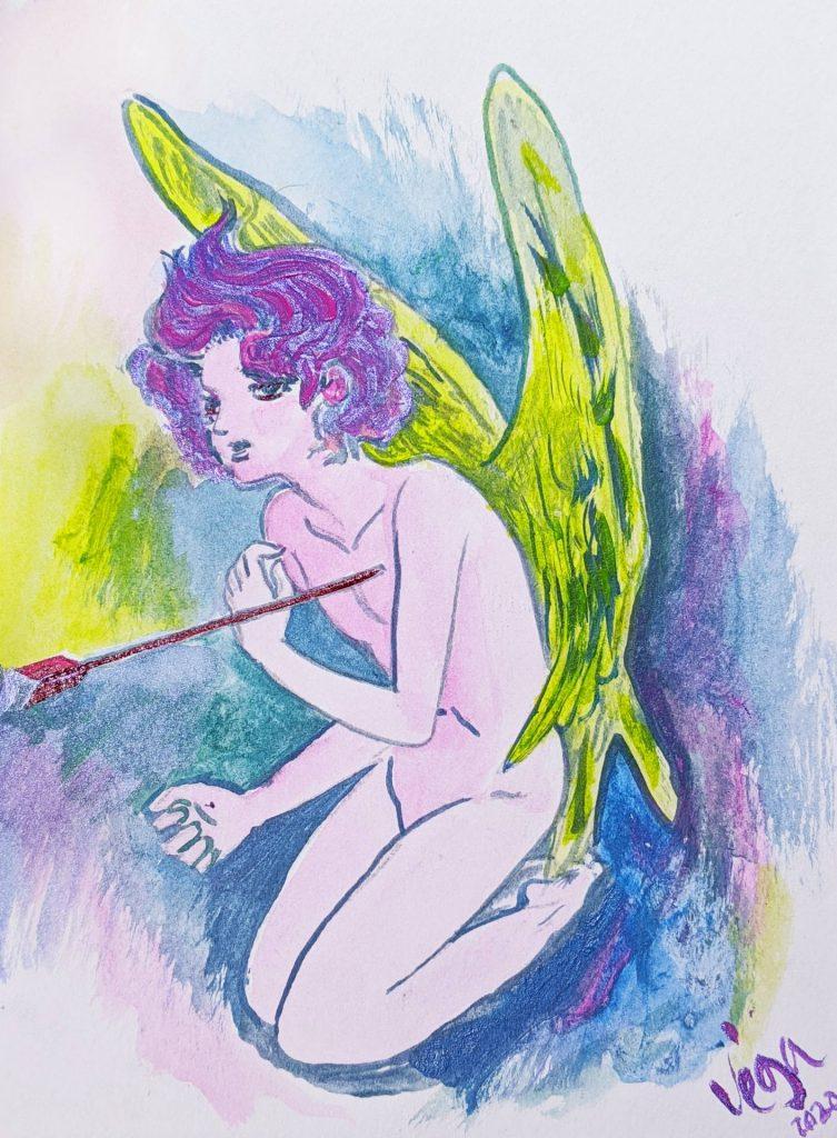 """$14, 8""""x6"""" Vintage Style Anime Cupid Painting. Artist: Emiliano Vega"""