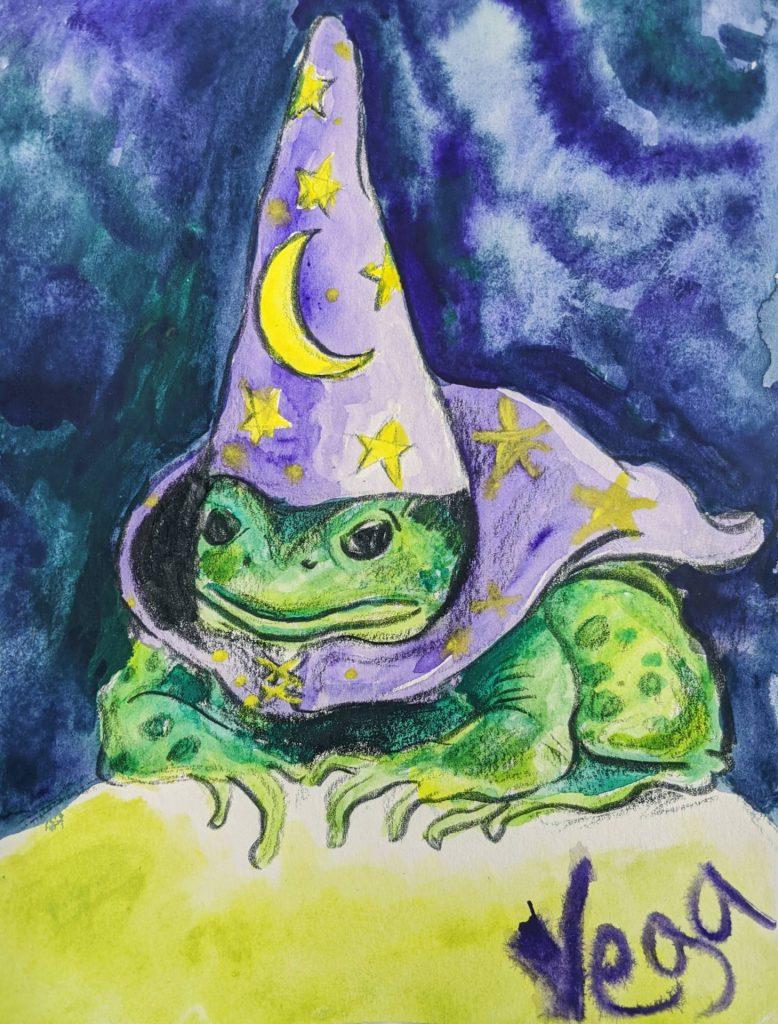 "$14, 8""x6"" Fantasy Frog Painting. Artist: Emiliano Vega"