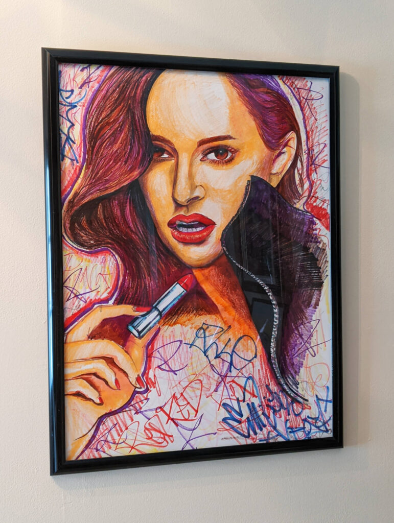 $40, 18x24 Framed Natalie Portman Makeup Editorial Ink Drawing. Artist: Emiliano Vega