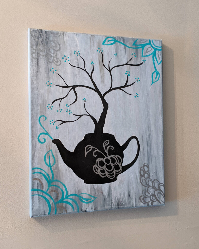 $20, 11x14 Acrylic Painting On Canvas With Metallic Silver Accents. Artist: Allise Noble