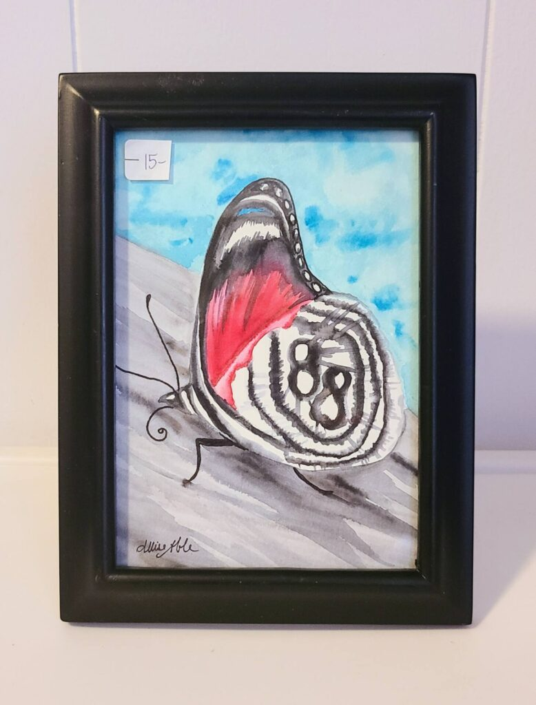 $15, Framed 5x7 Ink Wash Painting. Artist: Allise Noble