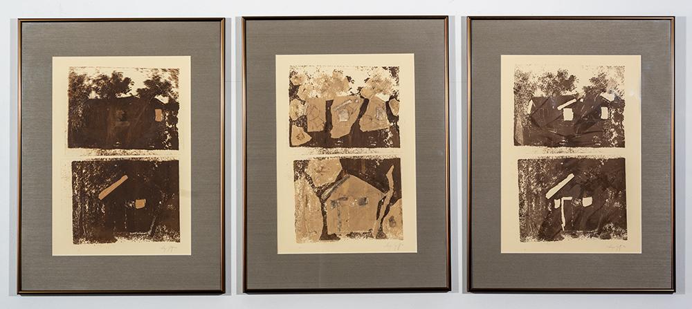 Ox Bow Cabin- Dusk, Midnight & Dawn (Triptych - monoprint), A. Speltz, $850 set
