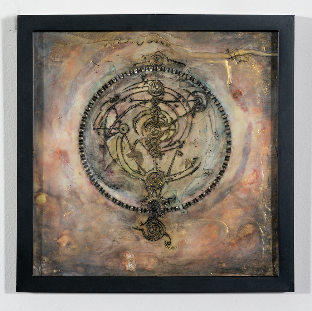 The Treasure (13 x 13 - encaustic wax mixed media), A. Speltz, $495for diptych with The Key