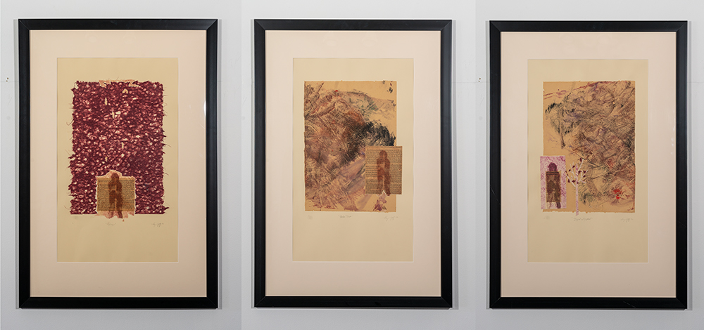 Values, Broken Trust, Injured and Exposed (triptych - monoprint type with Chine-colle & Collagraph), A. Speltz, $395 each or $1050 set