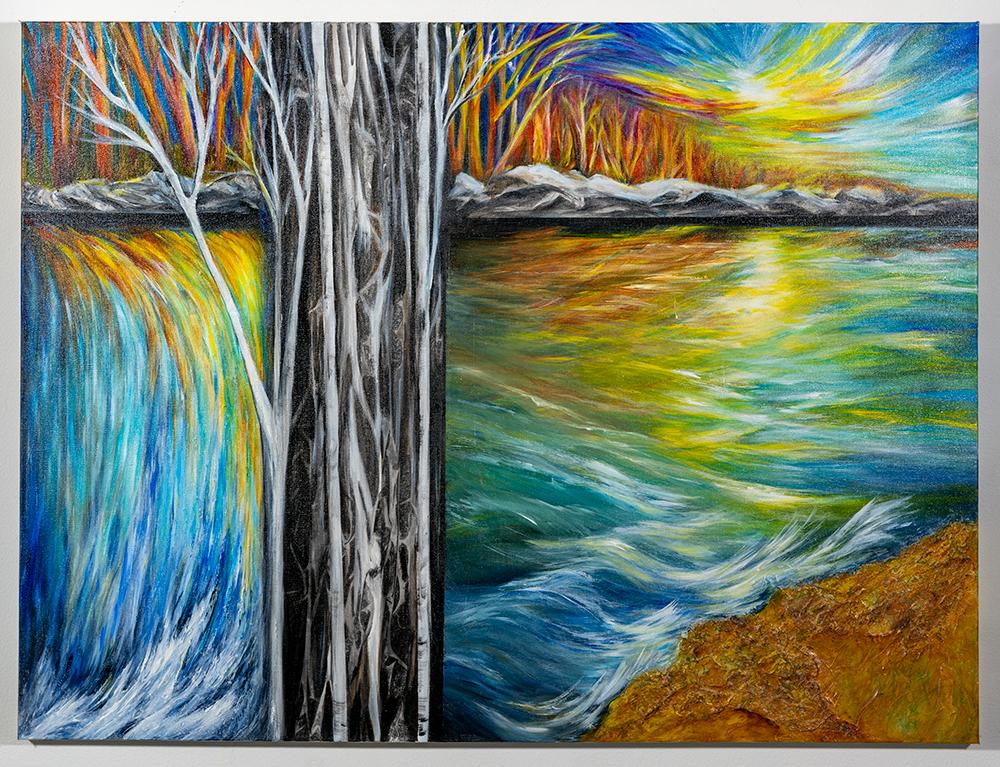 JANICE WEGNER - 'Go With the Flow' - Acrylic, Mixed Media - 30 x 40 - NFS