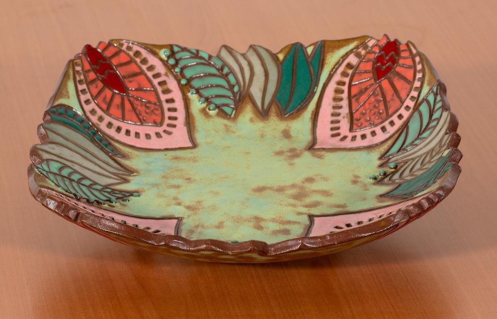 JASMINKA B. BLAZINA - 'Flowers' - Stoneware - 2.5 x 11 x 11 - $100