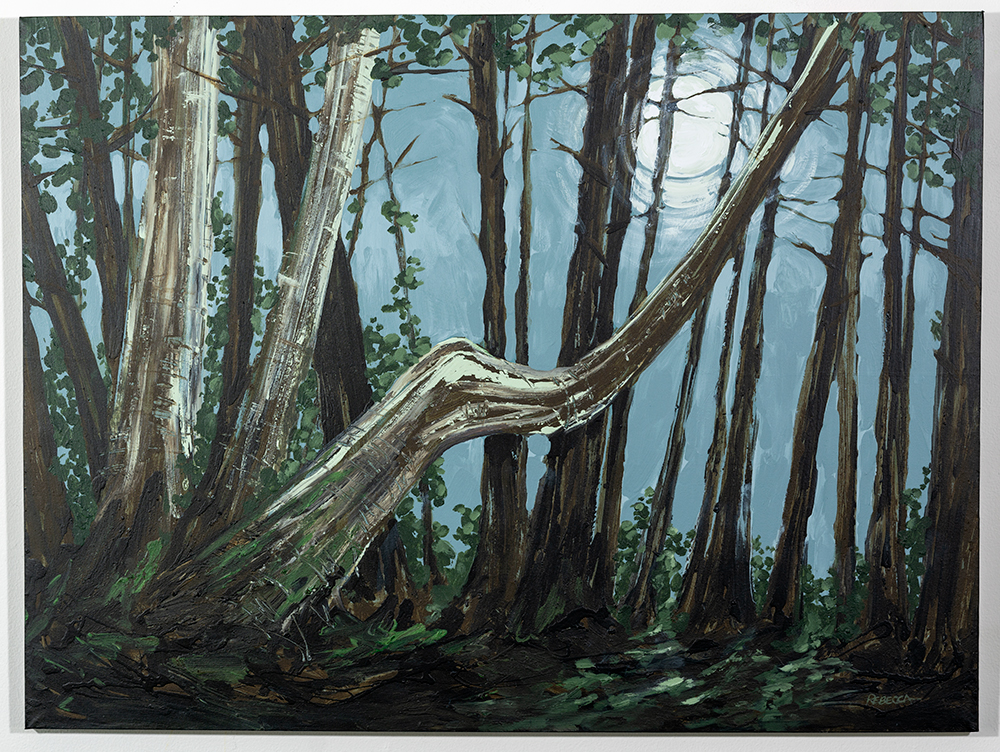 REBECCA HOUCK - 'If a Tree Falls in the Forest and There is Nobody There to See It, Does the Moon Still Shine?' - Acrylic - 30 x 40 - NFS