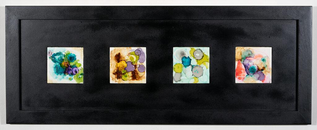 BARBARA HENRY - Nebulae - Acrylic and Alcohol Inks - 36x13.88 - NFS