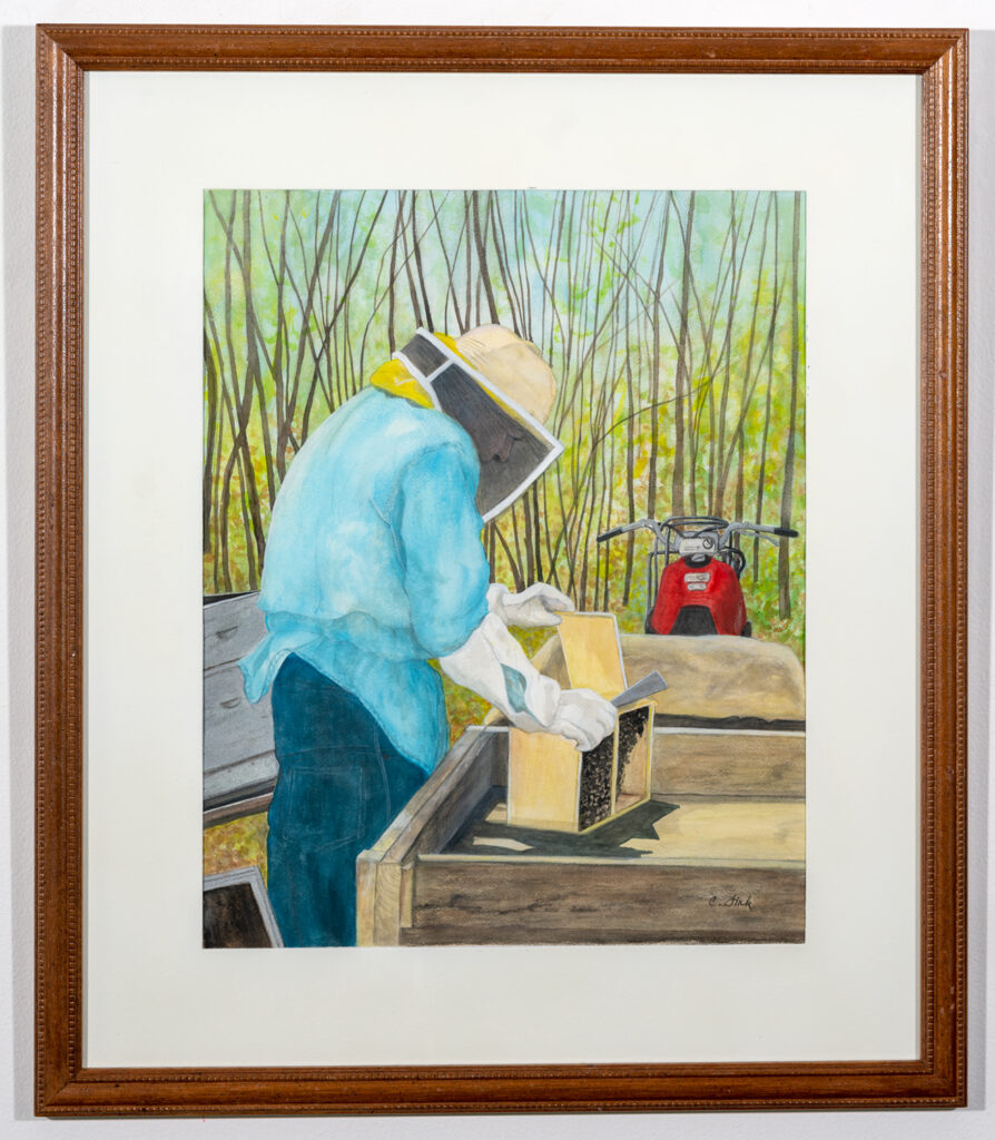 CAROL FINK - The Beekeeper - Watercolor, Gouache, Acrylic - 24x28 - NFS