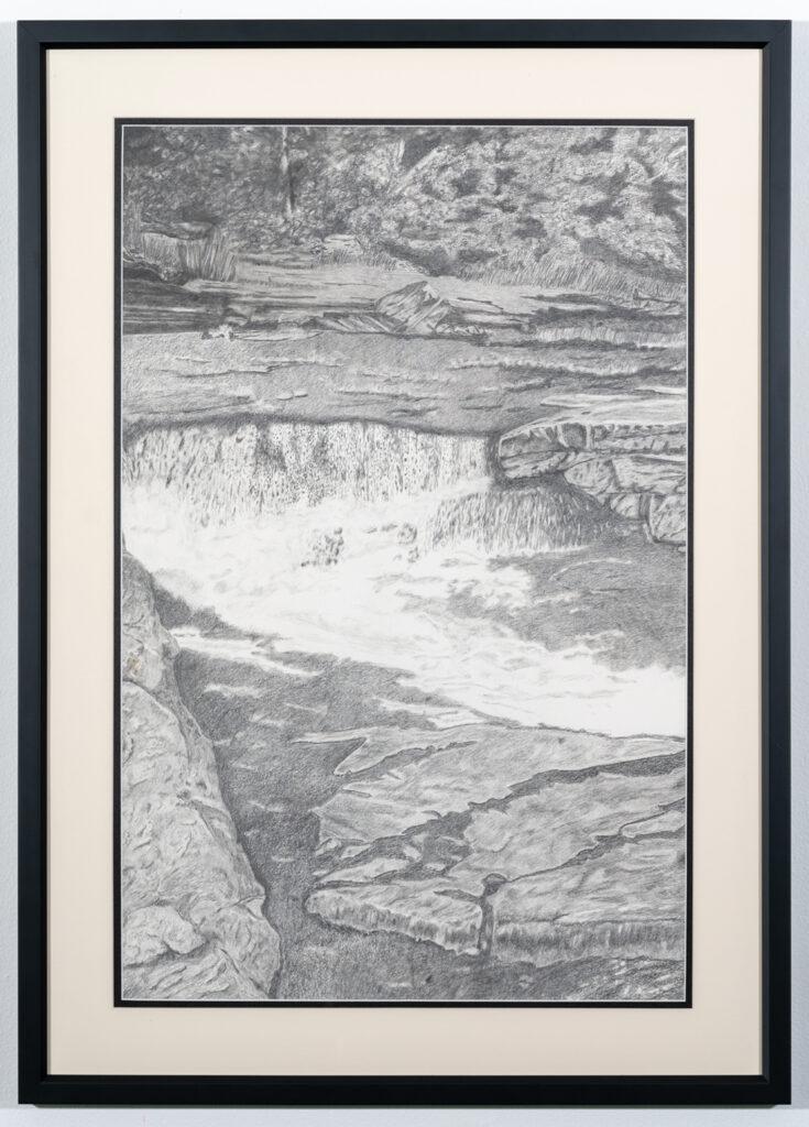 JIM FAIR - Canyon River Falls - Graphite - 23.63x33 - $650