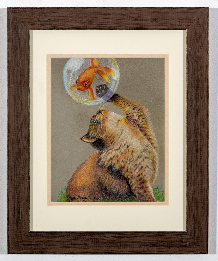 JOANN MORGAN SMITH - Cats, Bubbles, and Goldfish - Color Pencil - 13.38x16.38 - $130