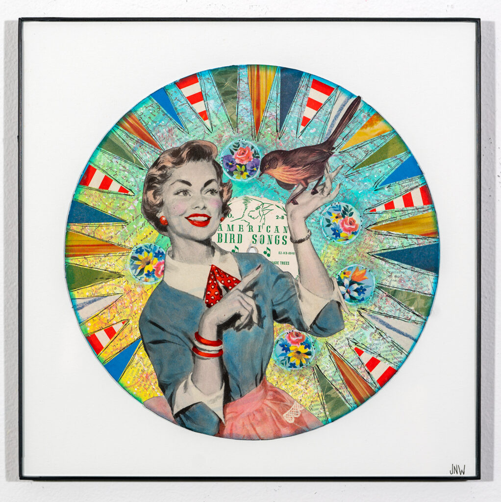 JULIE WELSH - What's YOUR Twitter Account - Vinyl Record and Paper Collage with Acrylic Paint, Ink, and Chalk - NFS