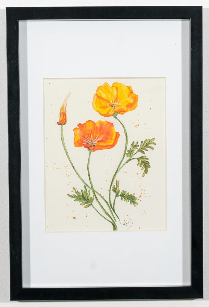 KAREN JANCZEWSKI - California Poppy - Watercolor - 12.13x18.13 - $250