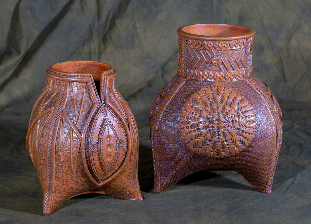 PAMELA HART - Legend of Sogolon, The Sun, the Moon, and the Stars - Ceramic - 7x9.5x7, 9x11.5x9.5 - $350 each