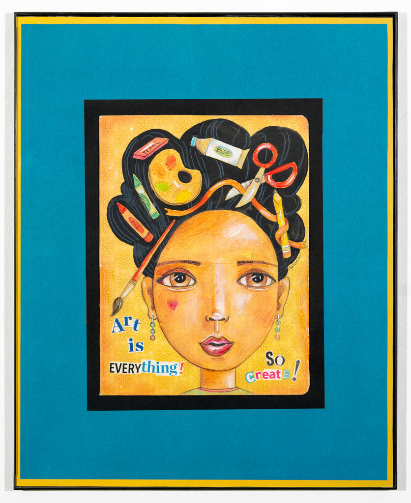 REBECCA SPOHN - Good Hair Day - Mixed Media (Acrylic, Colored Pencil) - 16.13x20.13 - NFS